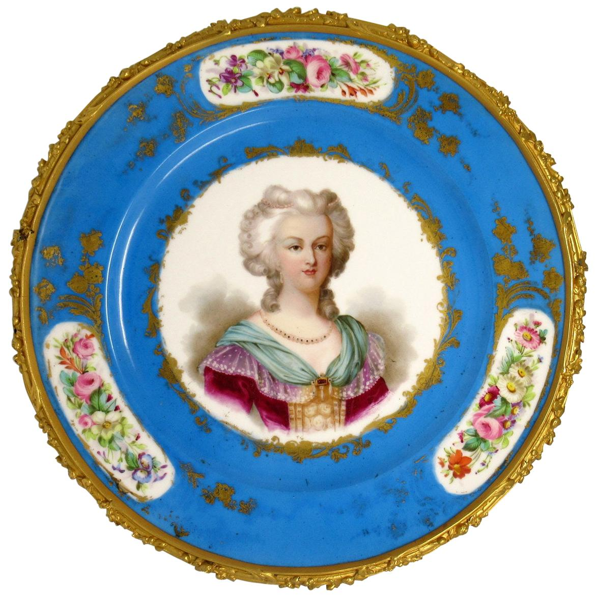 Large French Ormolu Mounted Sevres Porcelain Portrait Hanging Charger Plate