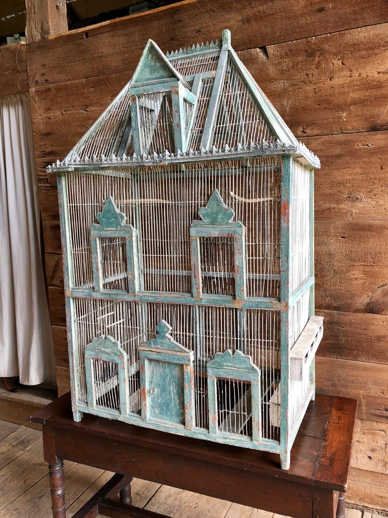 Large French Painted Birdcage, 19th Century In Good Condition For Sale In Doylestown, PA