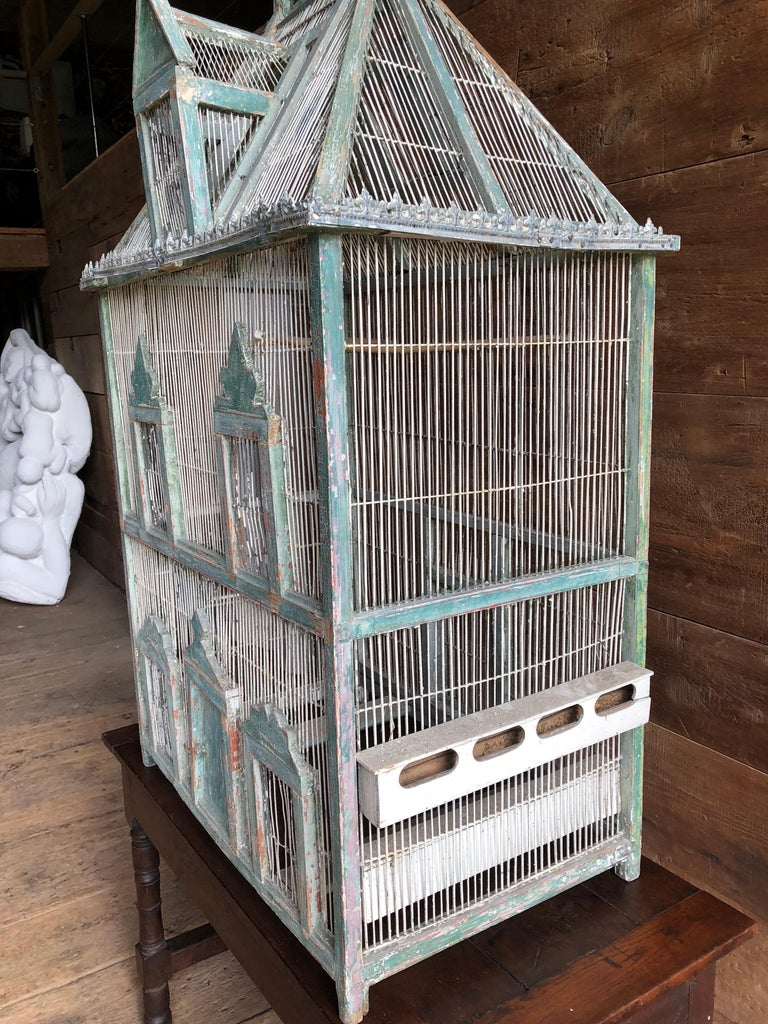 Large French Painted Birdcage, 19th Century For Sale 1