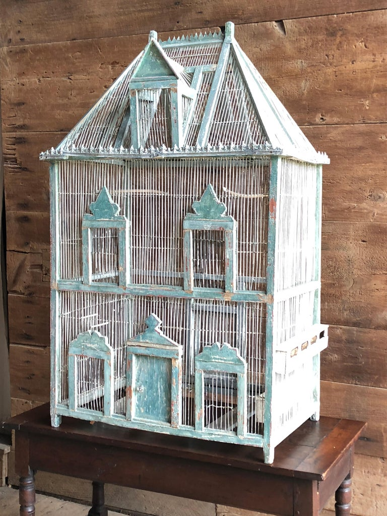 Large French Painted Birdcage, 19th Century For Sale 2