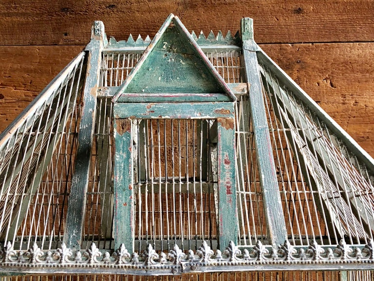 Large French Painted Birdcage, 19th Century For Sale 4