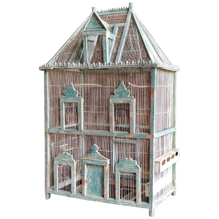 Large French Painted Birdcage, 19th Century For Sale
