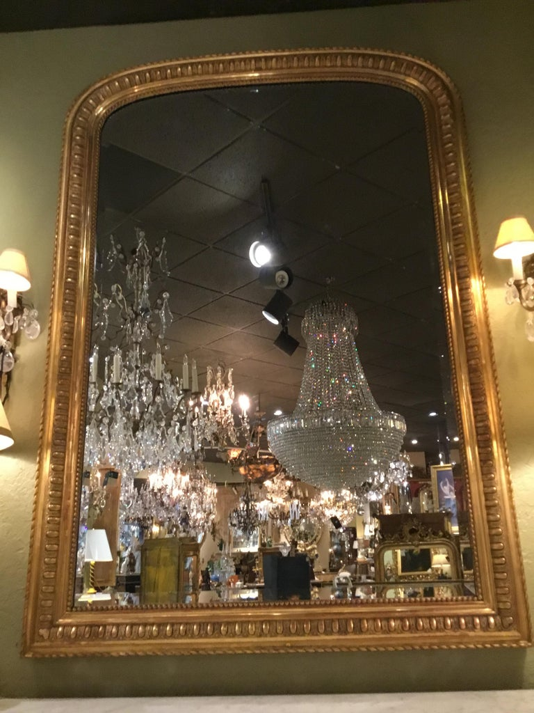 Large French Palace Size Giltwood, Louis Philippe Mirror with Beveled Glass In Good Condition For Sale In Houston, TX