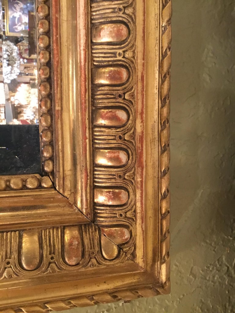 19th Century Large French Palace Size Giltwood, Louis Philippe Mirror with Beveled Glass For Sale