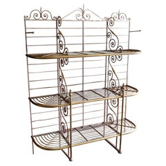 Large French Parisian Wrought Iron & Brass Boulangerie Baker's Rack, circa 1900