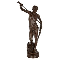 Large French Patinated Bronze Sculpture of David by Mercié and Barbedienne