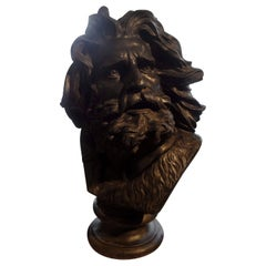 Large French Patinated Plaster Bust, Head of a Gaul