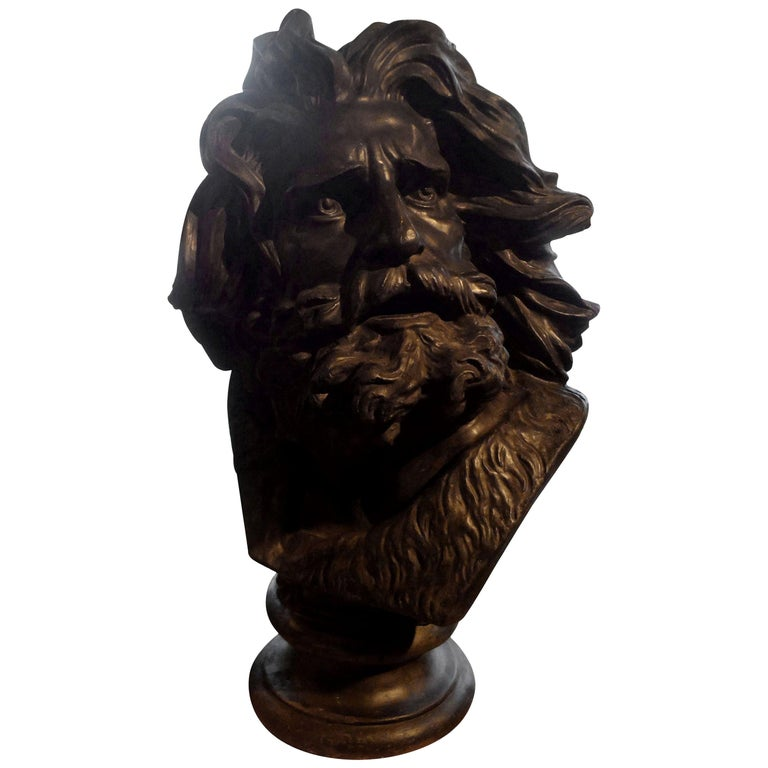 Large French Patinated Plaster Bust, Head of a Gaul For Sale