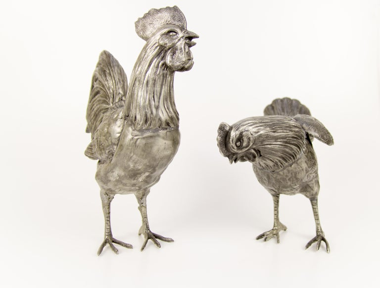 Large French Pewter Rooster and Chicken Sculptures For Sale 6