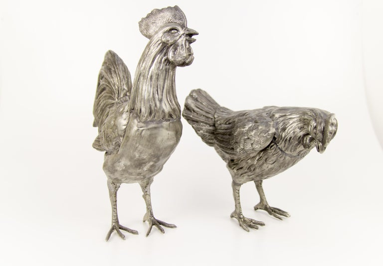 Large French Pewter Rooster and Chicken Sculptures For Sale 7