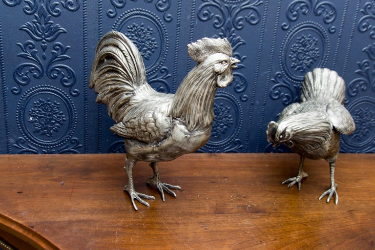 Large French Pewter Rooster and Chicken Sculptures For Sale 10
