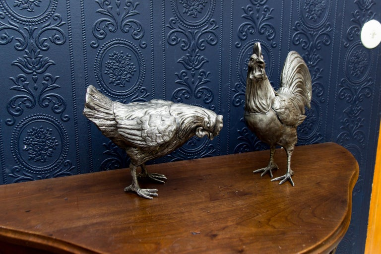 Large French Pewter Rooster and Chicken Sculptures For Sale 11
