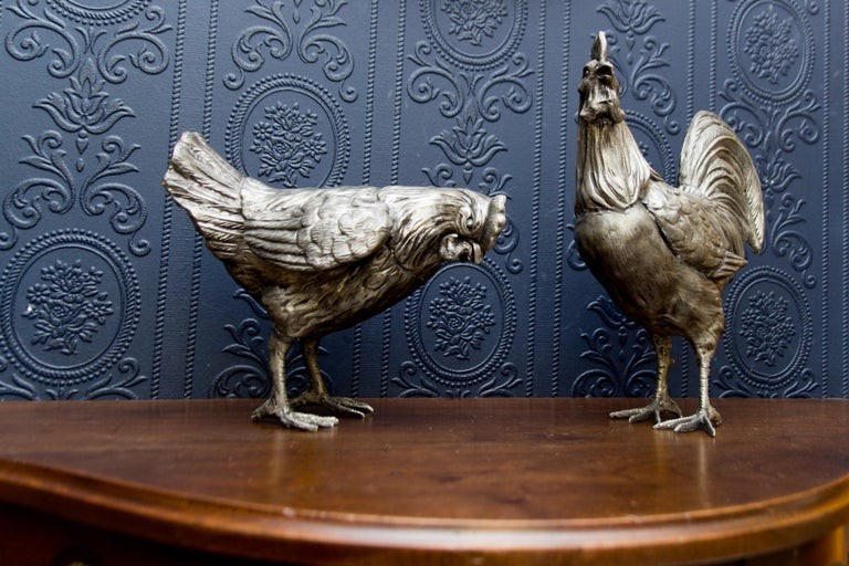 Large French Pewter Rooster and Chicken Sculptures For Sale 12