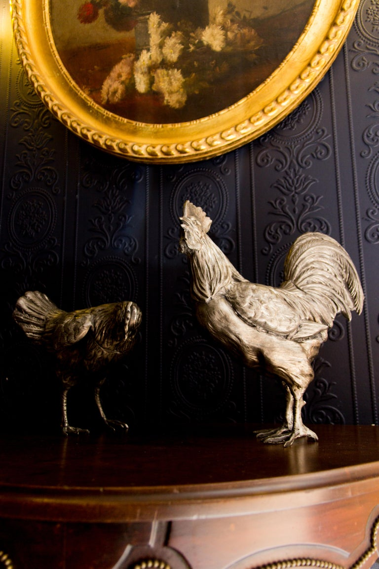 Large French Pewter Rooster and Chicken Sculptures For Sale 13