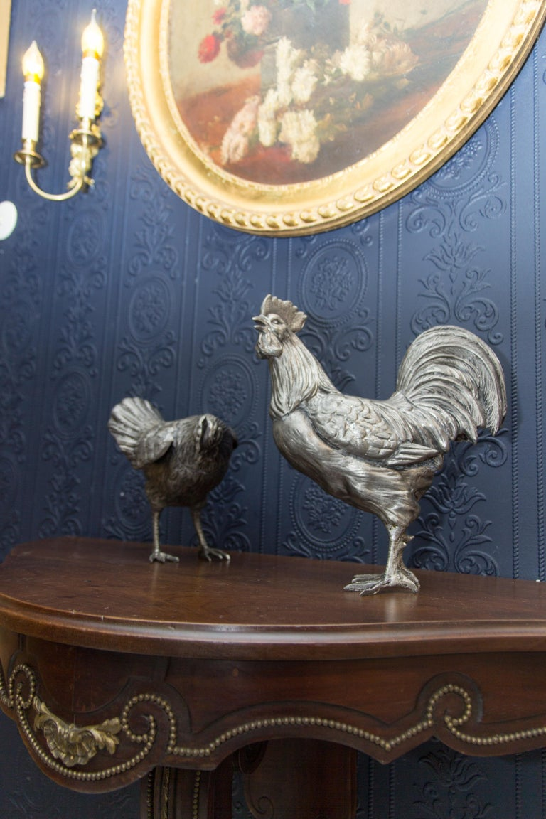 Large French Pewter Rooster and Chicken Sculptures For Sale 14