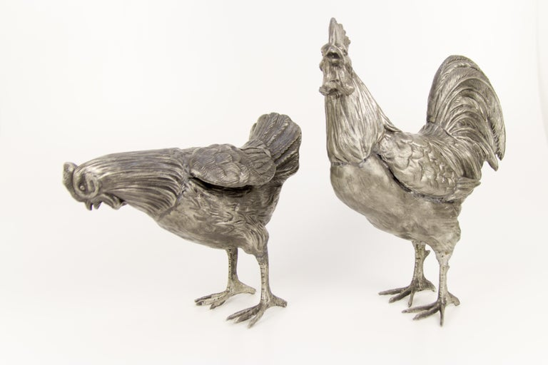 Large French Pewter Rooster and Chicken Sculptures In Good Condition For Sale In Barntrup, DE