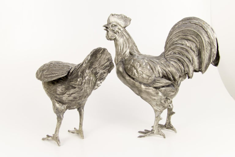 20th Century Large French Pewter Rooster and Chicken Sculptures For Sale