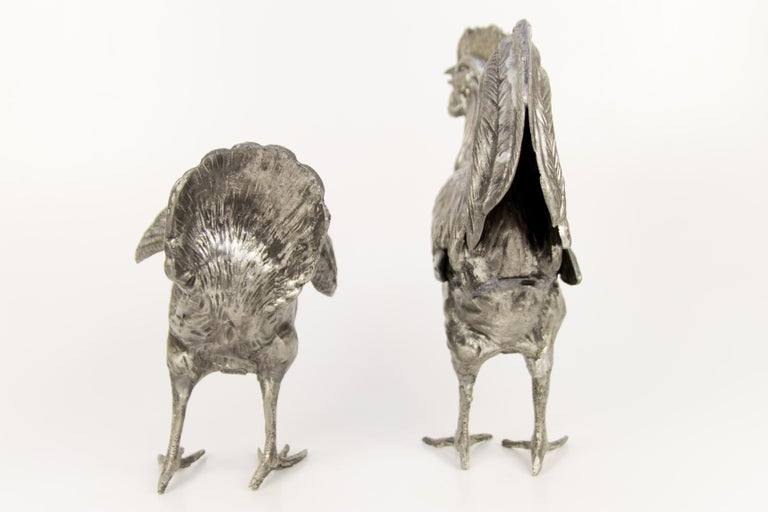 Large French Pewter Rooster and Chicken Sculptures For Sale 1