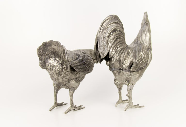 Large French Pewter Rooster and Chicken Sculptures For Sale 2