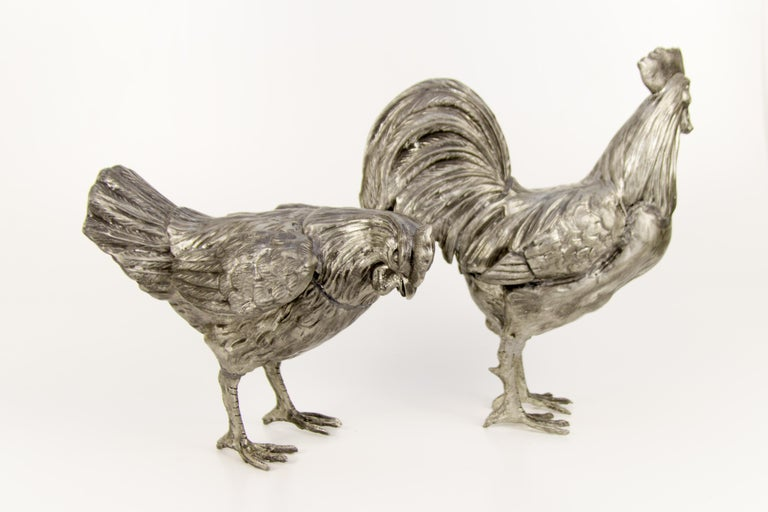 Large French Pewter Rooster and Chicken Sculptures For Sale 3