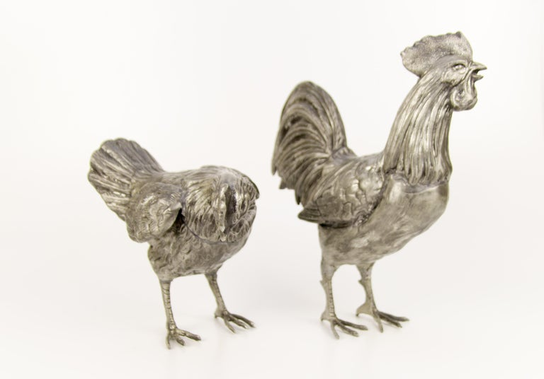 Large French Pewter Rooster and Chicken Sculptures For Sale 4