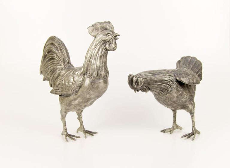 Large French Pewter Rooster and Chicken Sculptures For Sale 5
