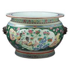Large French Porcelain Famille Rose Style Fishbowl, Samson, circa 1880
