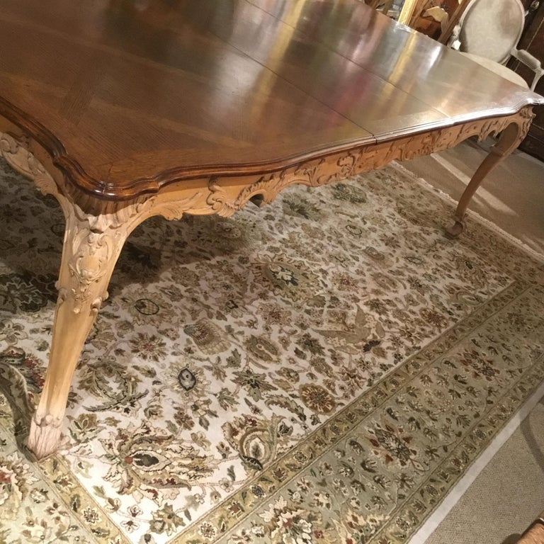 Large French Provincial Style Dining Table with Parquetry Top, Louis XV Style 5