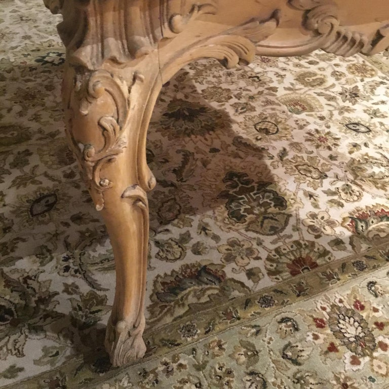 Carved Large French Provincial Style Dining Table with Parquetry Top, Louis XV Style