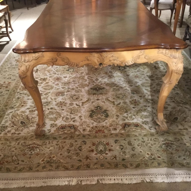 Large French Provincial Style Dining Table with Parquetry Top, Louis XV Style 2