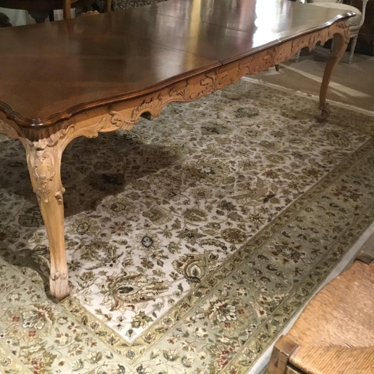 Large French Provincial Style Dining Table with Parquetry Top, Louis XV Style 4