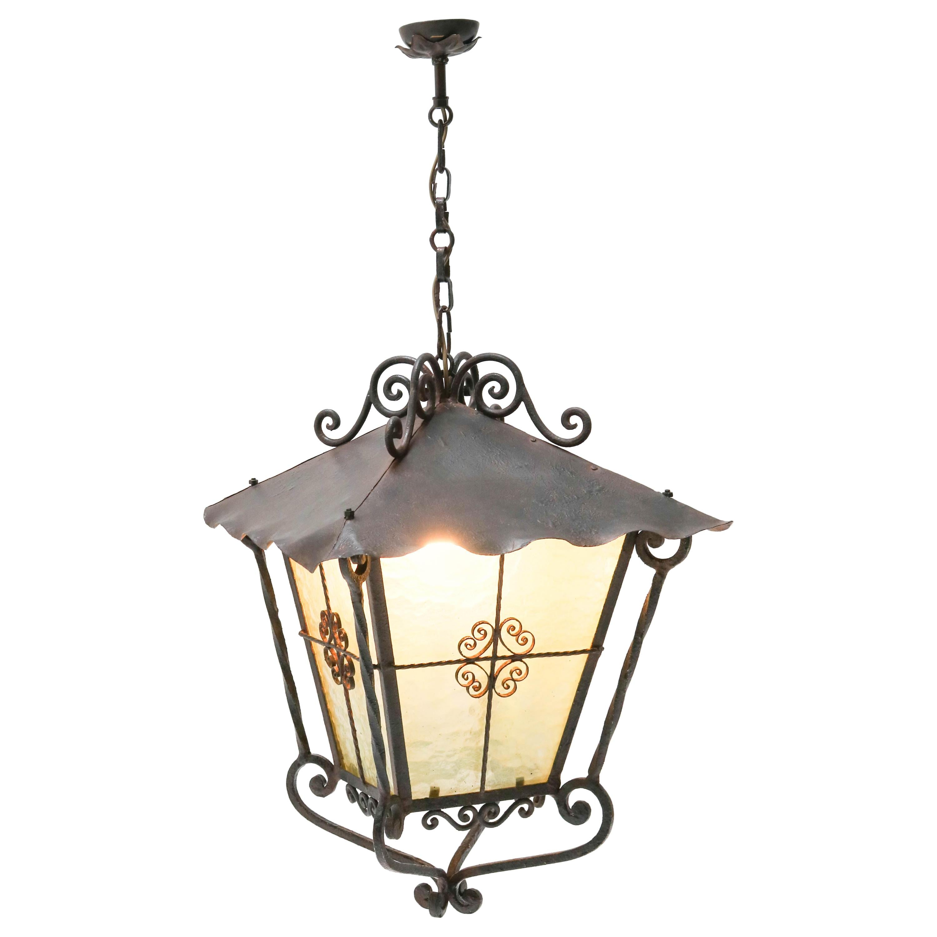 Large French Provincial Wrought Iron Lantern, 1950s