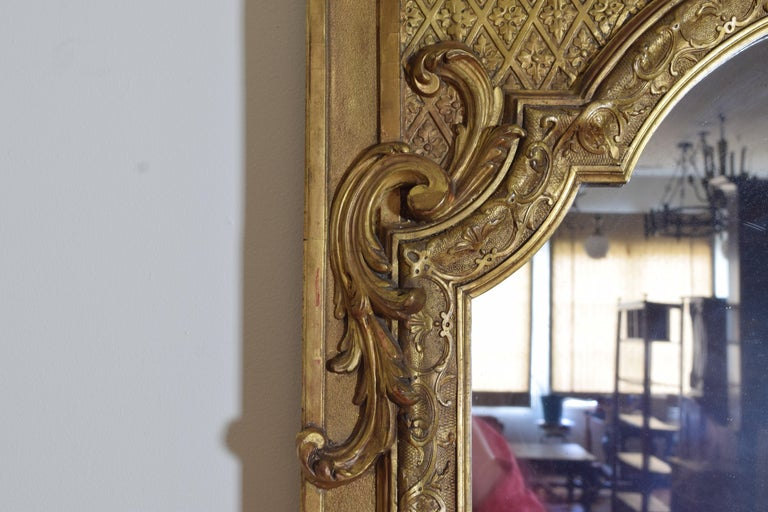 Large French Regence Style Carved Giltwood and Gilt-Gesso Mirror, 3rdq 19th cen. For Sale 3