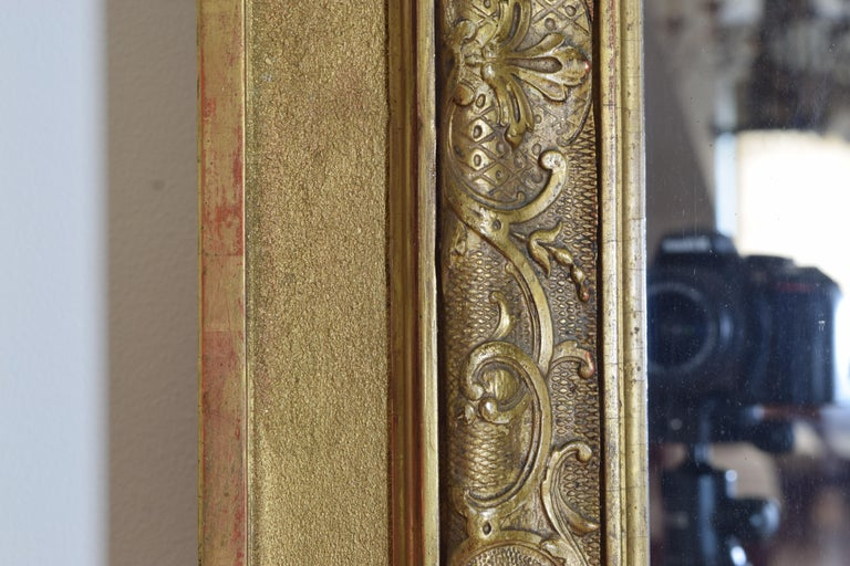 Large French Regence Style Carved Giltwood and Gilt-Gesso Mirror, 3rdq 19th cen. For Sale 4