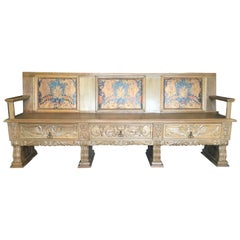 Large French Renaissance-Style Oak and Leather Bench