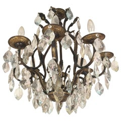Large French Rock Crystal Chandelier by Maison Baguès, circa 1940