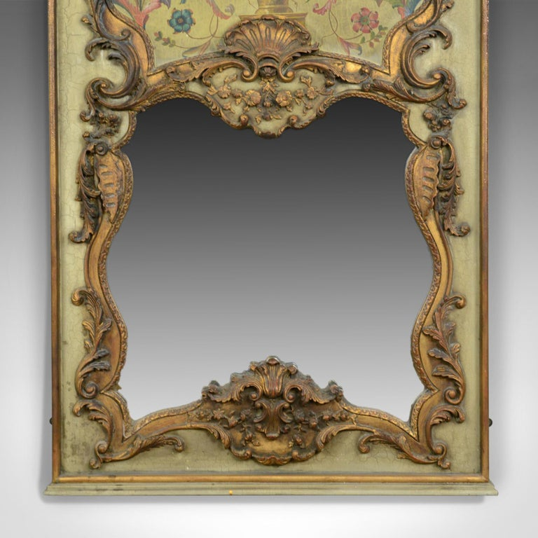 Large French Rococo Revival Wall Mirror Painted Hall