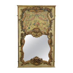 Large, French, Rococo Revival, Wall Mirror, Painted, Hall, Overmantel