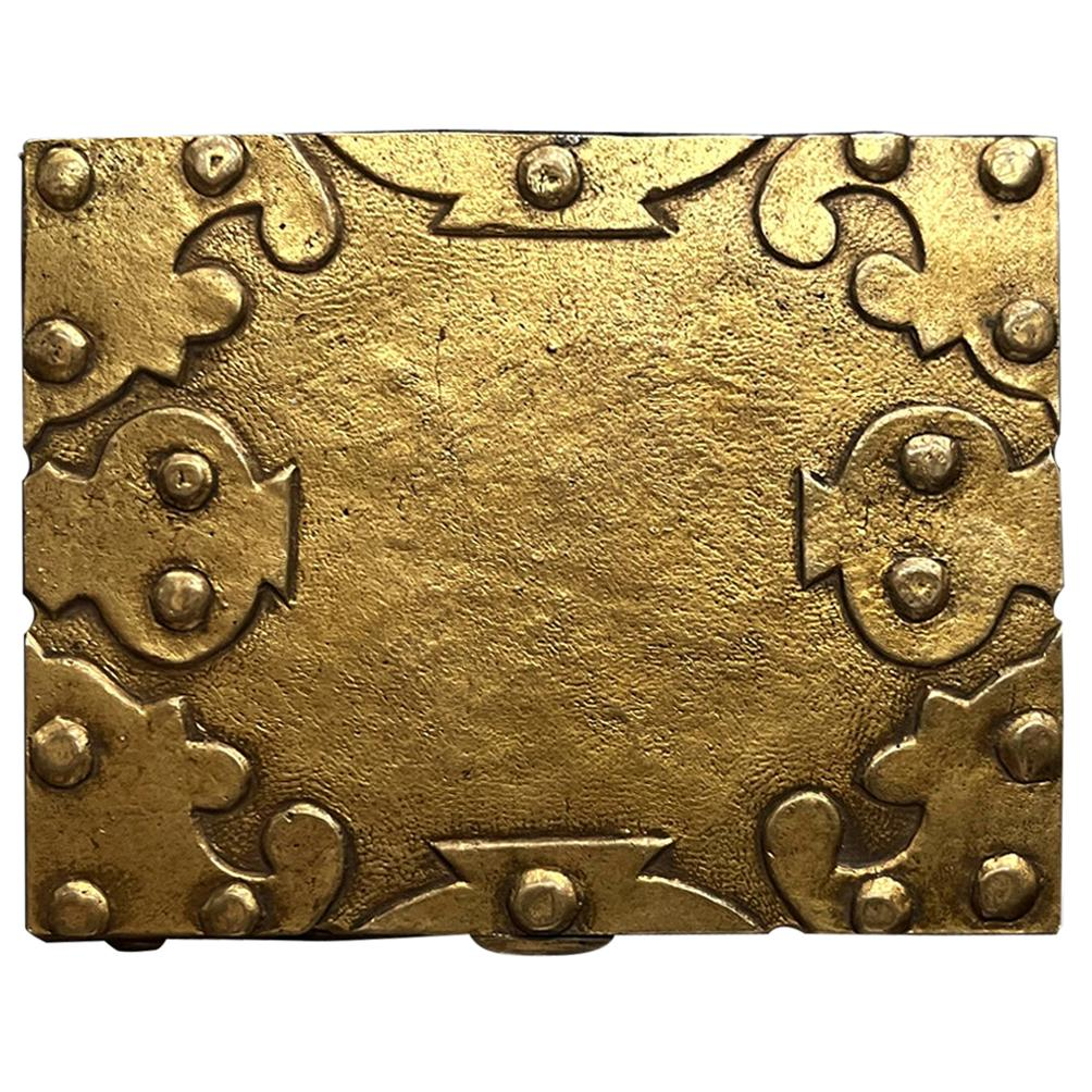Large French Sculpted Bronze Box by Line Vautrin