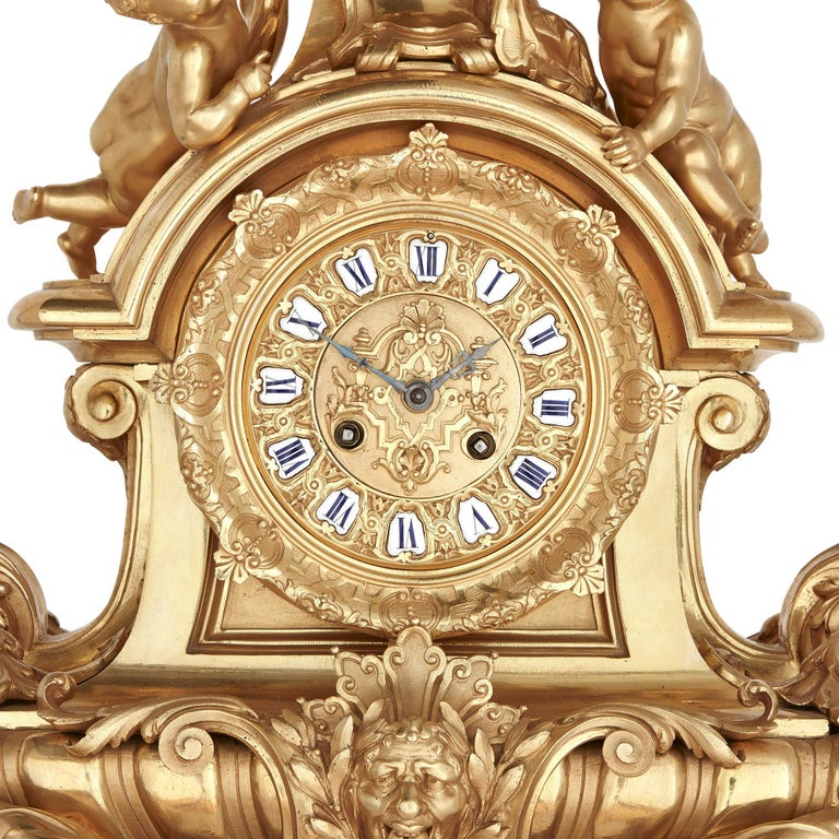 Napoleon III Large French Second Empire Style Gilt Bronze Mantel Clock For Sale