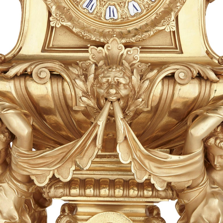 Large French Second Empire Style Gilt Bronze Mantel Clock In Good Condition For Sale In London, GB