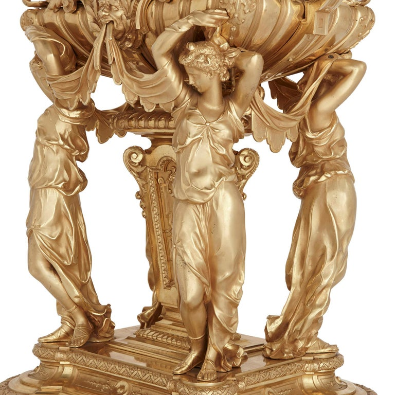 Late 19th Century Large French Second Empire Style Gilt Bronze Mantel Clock For Sale