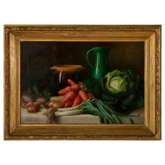 Large French Signed Oil on Canvas Still Life Painting in Giltwood Frame c. 1901