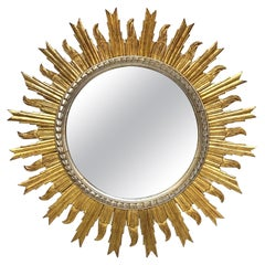 Large French Silver and Gilt Sunburst Mirror (Diameter 36)
