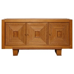 Large French Solid Oak Sideboard with Square Front Design, France, circa 1940