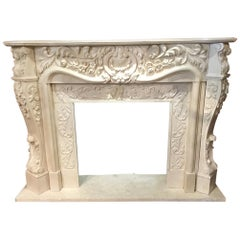 Large French Style Cream Marble Mantel, Hand Carved with Floral Designs