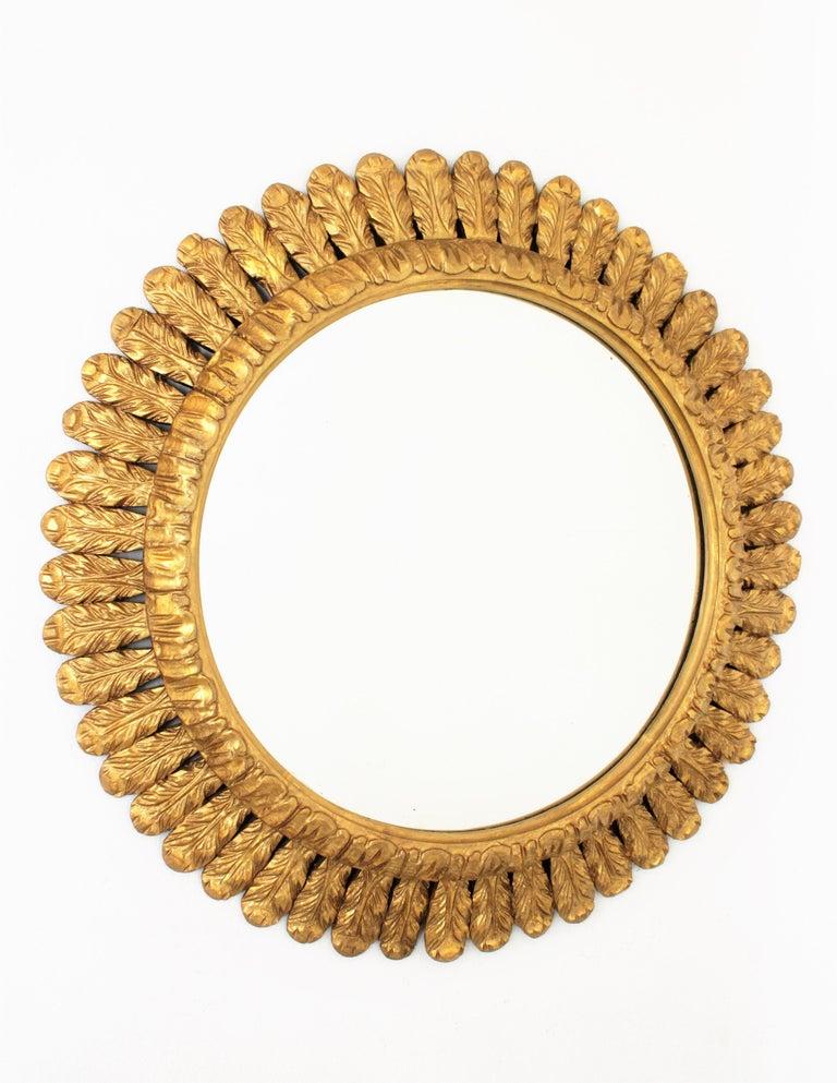 Large French Sunburst Mirror, Carved Giltwood Leafed Frame, 1950s For Sale 7