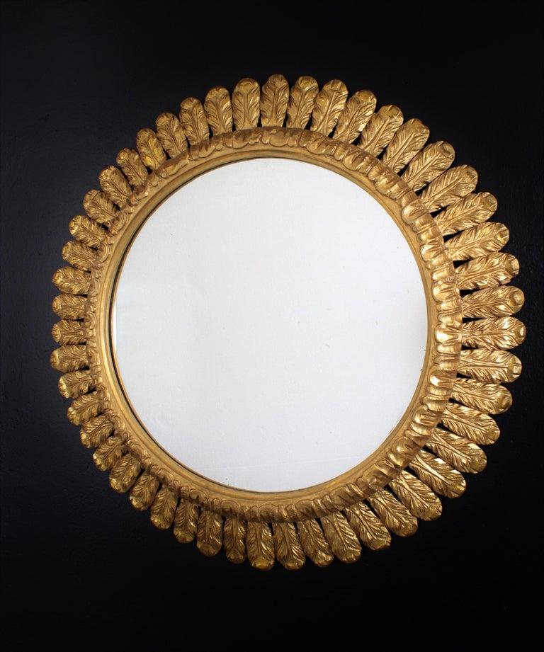 Mid-Century Modern Large French Sunburst Mirror, Carved Giltwood Leafed Frame, 1950s For Sale