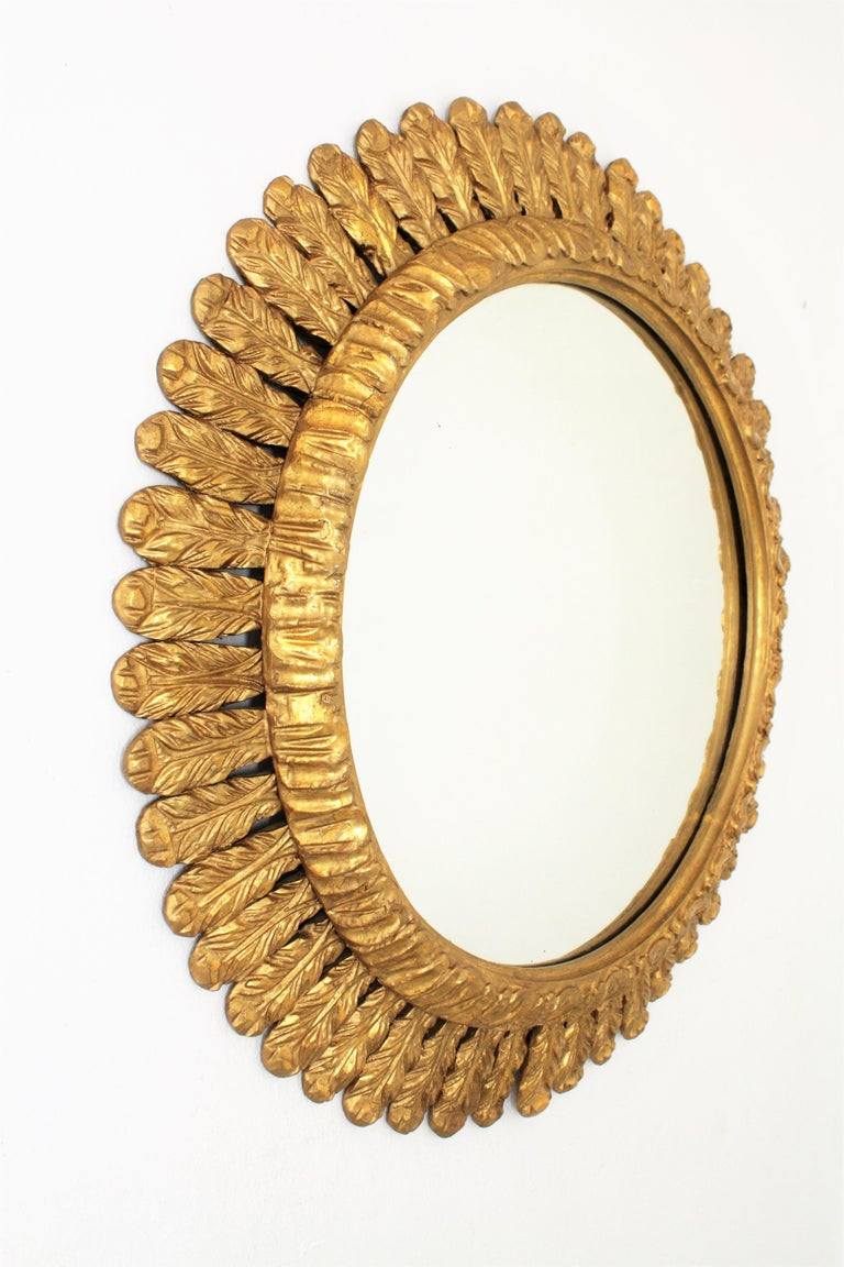 20th Century Large French Sunburst Mirror, Carved Giltwood Leafed Frame, 1950s For Sale