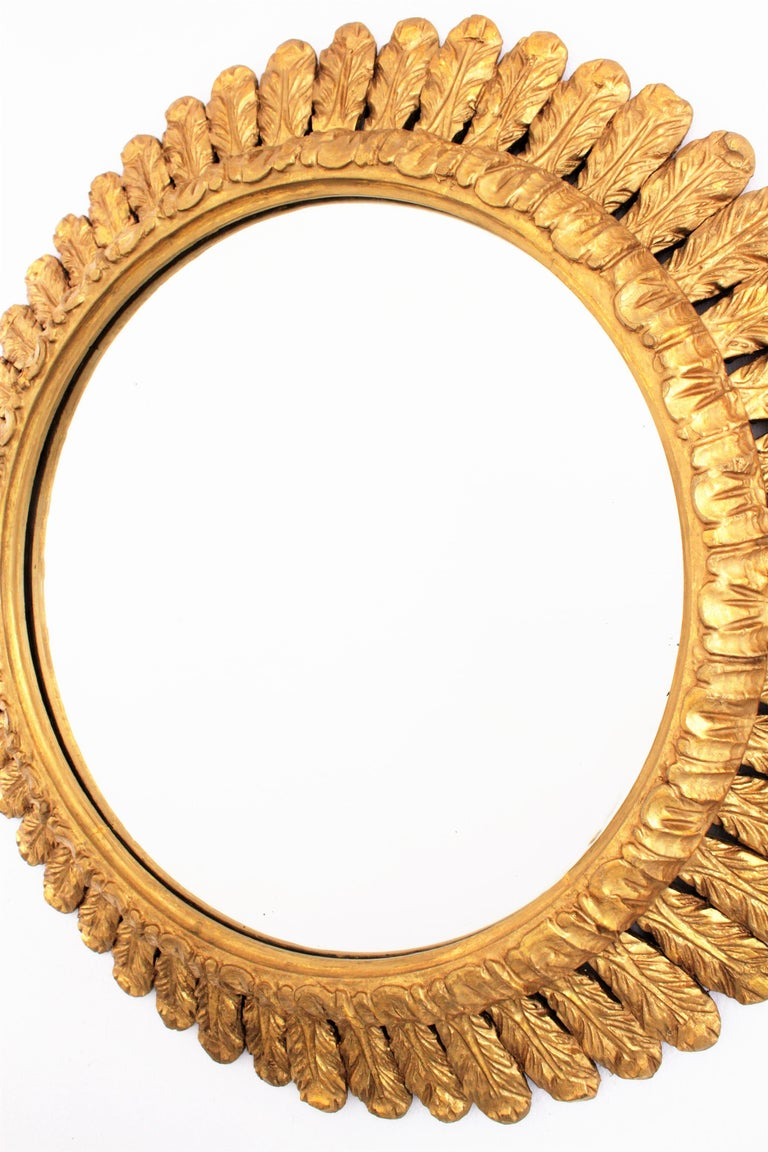 Large French Sunburst Mirror, Carved Giltwood Leafed Frame, 1950s For Sale 2